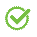 green and white circle and checkmark icon
