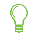 green and white light bulb icon