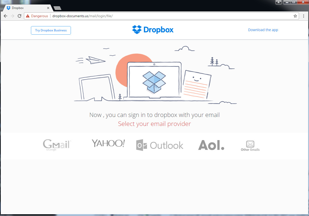 Dropbox phishing page