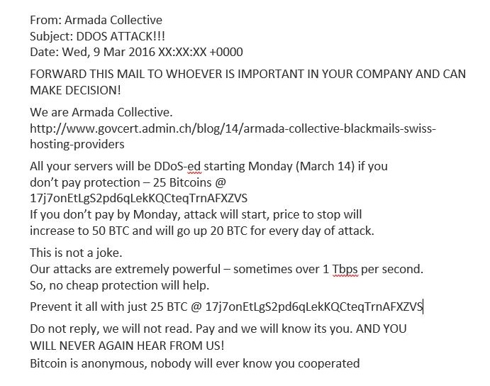 ransom attacks - armada collective ransom note