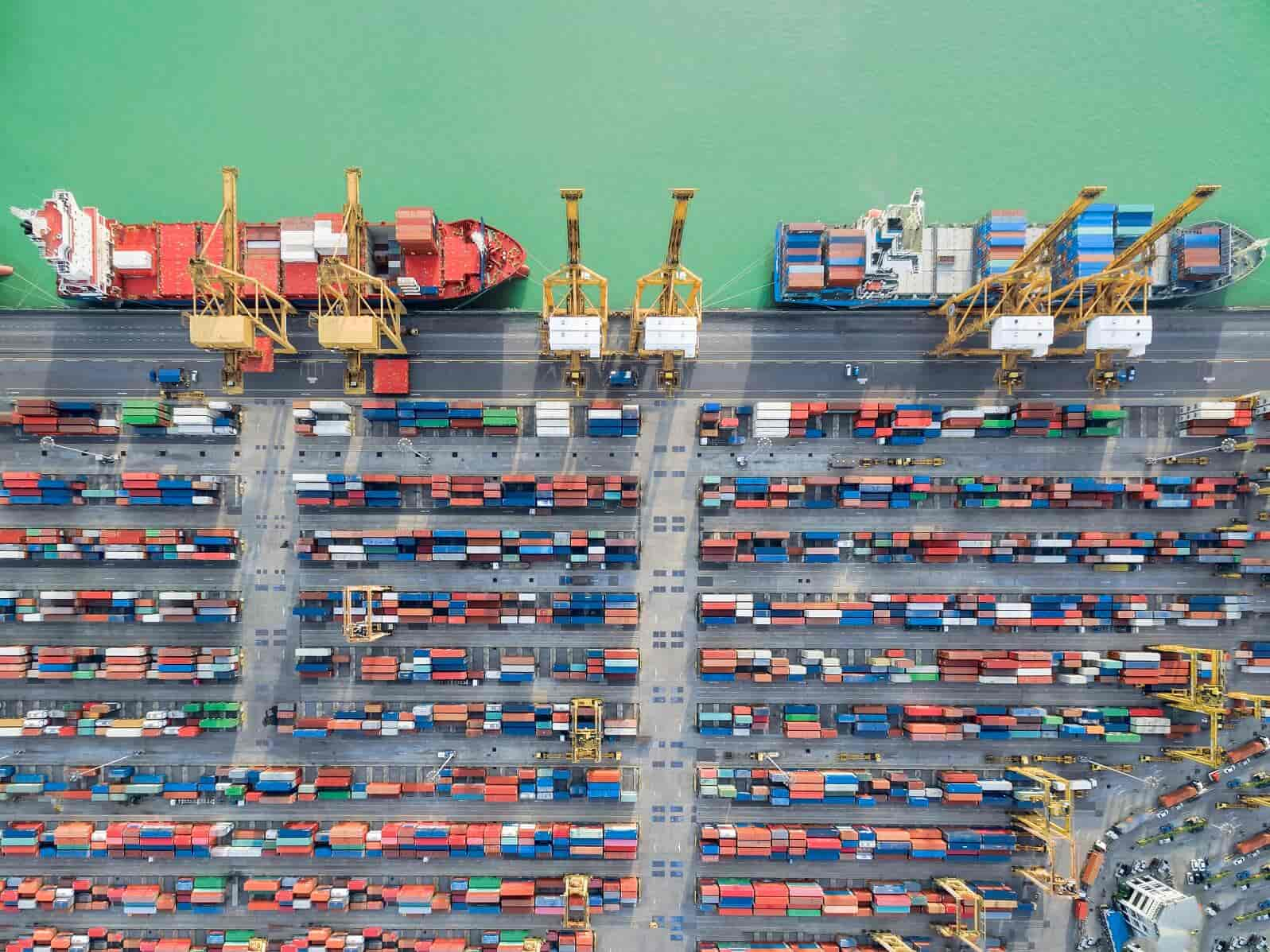 aerial view container harbor with crane , top view .