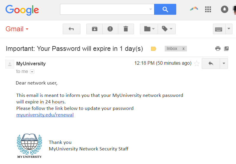 Phishing attack example - Phishing email