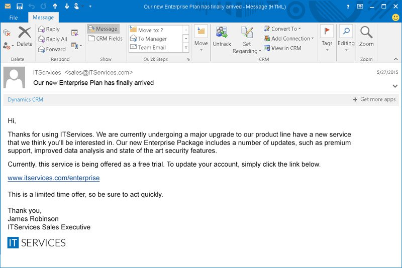 Spear phishing attack example - Spear phishing email