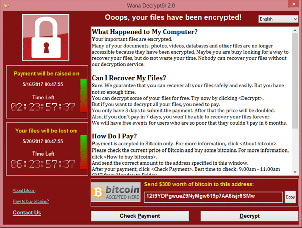 WannaCry ransomware notice displayed after it encrypts files on a machine