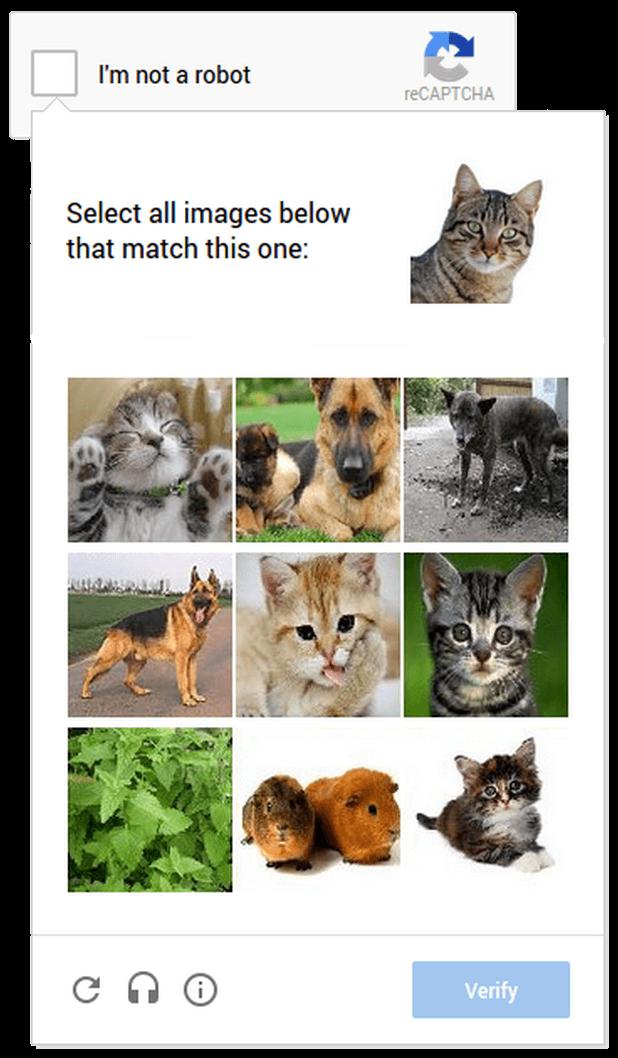 Example of image-based CAPTCHA